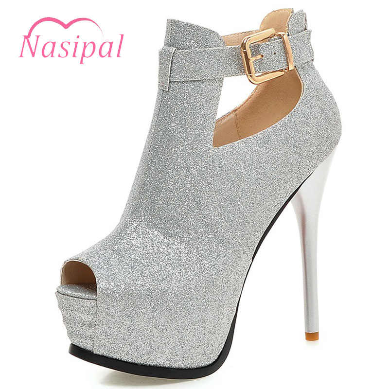 fd335ec8ff43 Nasipal Gold Silver Party Shoes Black Red Wedding Shoes Thin High Heels  Peep Toe Platform Sexy