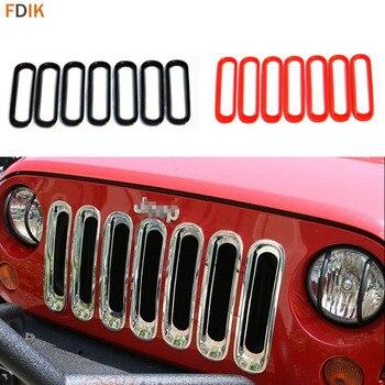 7 piezas ABS negro/rojo/cromo parachoques delantero parrilla inserto cubierta marco adhesivo para Jeep Wrangler 2007-2016