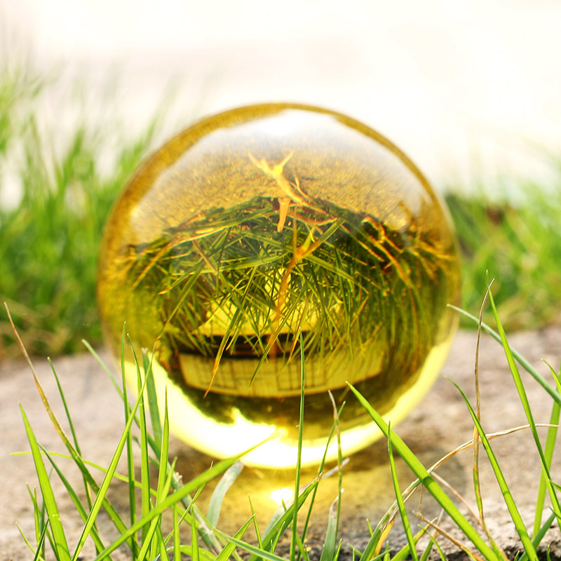 60mm Yellow Crystal Ball Glass Ball Globe with base Fengshui Miniature Oornaments For Gifts House Decoration Home Docor