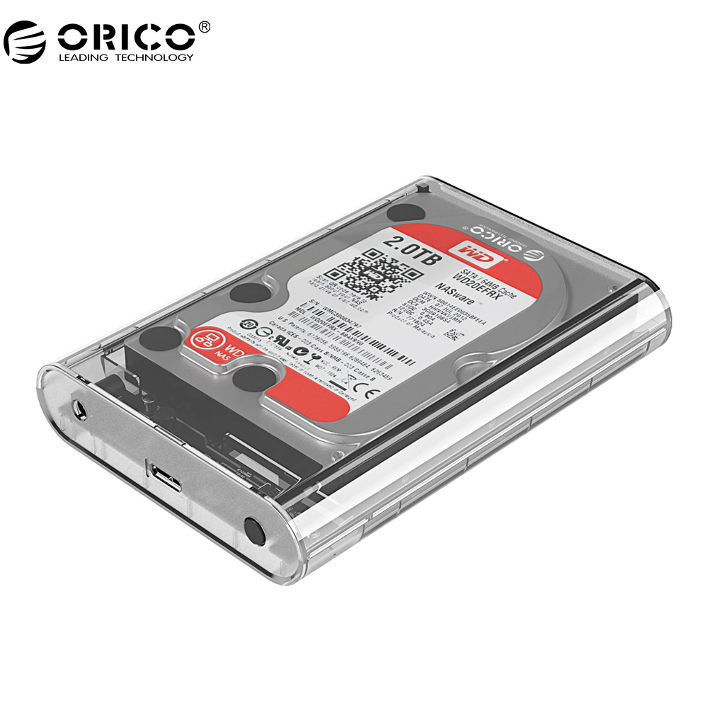 ORICO 3139U3 3.5 inch Transparent HDD Enclosure Case USB 3.0 5Gbps SATA3.0 Support UASP 8TB Drives for Notebook Desktop PC orico 3 5 protective sata pata hdd box case yellow