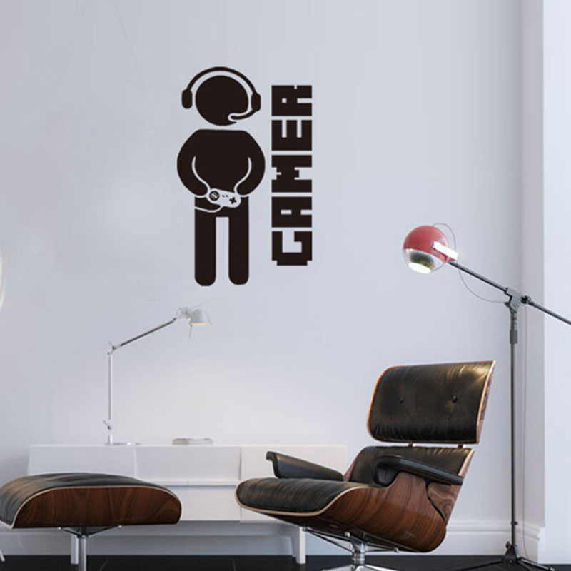 video game wall sticker gamer joystick wall decal art for home