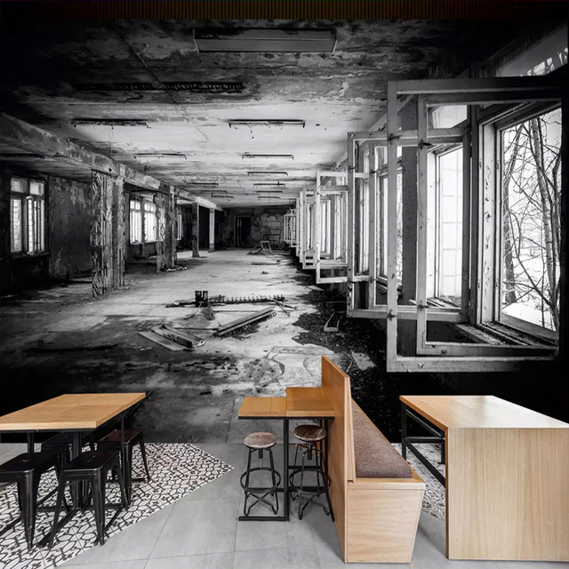 Custom 3D Photo Wallpaper Creative Space Black And White Factory Building Graffiti Art Wall Painting Restaurant