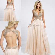 Sexy Champagne Plunging Crystals Beaded Side Cutouts Open Back Chiffon Prom Dresses 2015 Unique custom Evening Gowns For Women sexy plunging neckline sleeveless open back a line chiffon dress for women