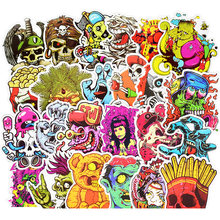 50Pcs Zombie Stickers For Suitcase Skateboard Laptop Cell Phone Motorcycle Bicycle Car Accessories Mixed Skull Stickers(China)