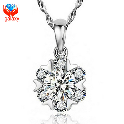 Sparkling Hearts and Arrows Cubic Zirconia Diamond Necklace Pendant 100 925 Sterling Silver Snow Flower Jewelry