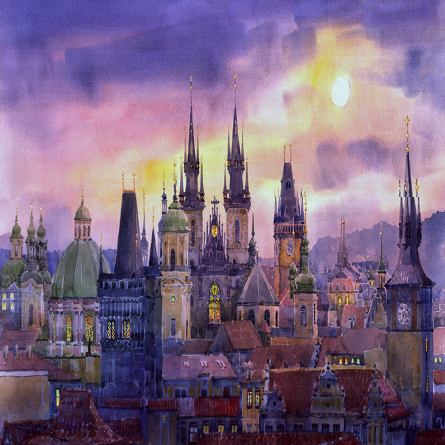 Landscape watercolor prints canvas painting giant posters masterpiece cities and castle home decorative art free shipping
