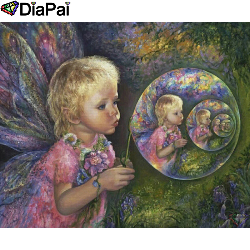 "DIAPAI 5D DIY Diamond Painting 100% Full Square/Round Drill ""Butterfly fairy"" Diamond Embroidery Cross Stitch 3D Decor A22900(China)"