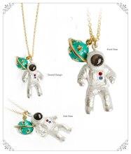1pc Japan Woman Gold Color Exclusive Astronaut Planet Pendant Necklaces Unique Chic Clavicle Chains For Women Fashion Jewelry
