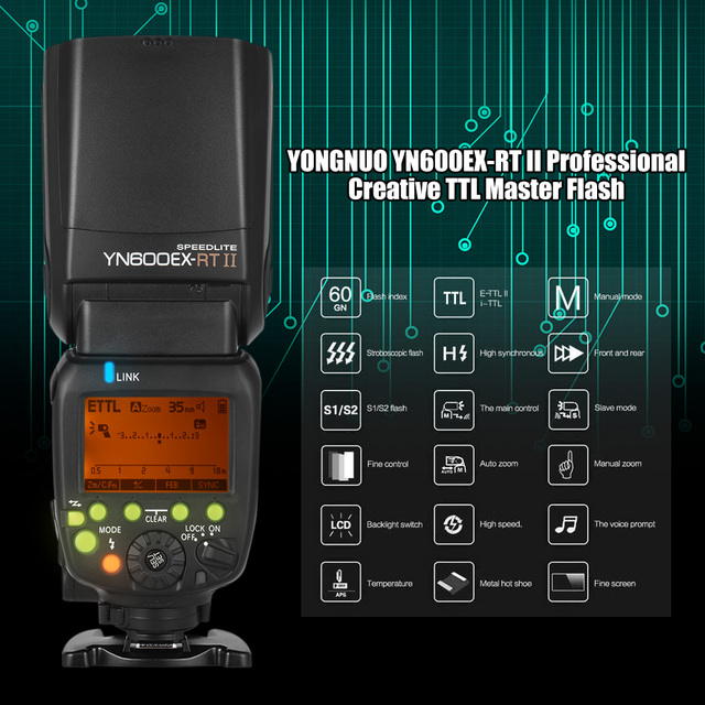 YONGNUO YN600EX-RT II TTL Master Flash Speedlite for Canon Camera 2.4G Wireless 1/8000s HSS GN60 Support Auto/ Manual Zooming