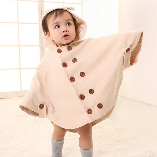 Hot Whosale Free shipping Organic Cotton No Dyeing fabric Kids Outerwear Baby clothing Infant Coat Baby Cloak Baby Cape Toddler
