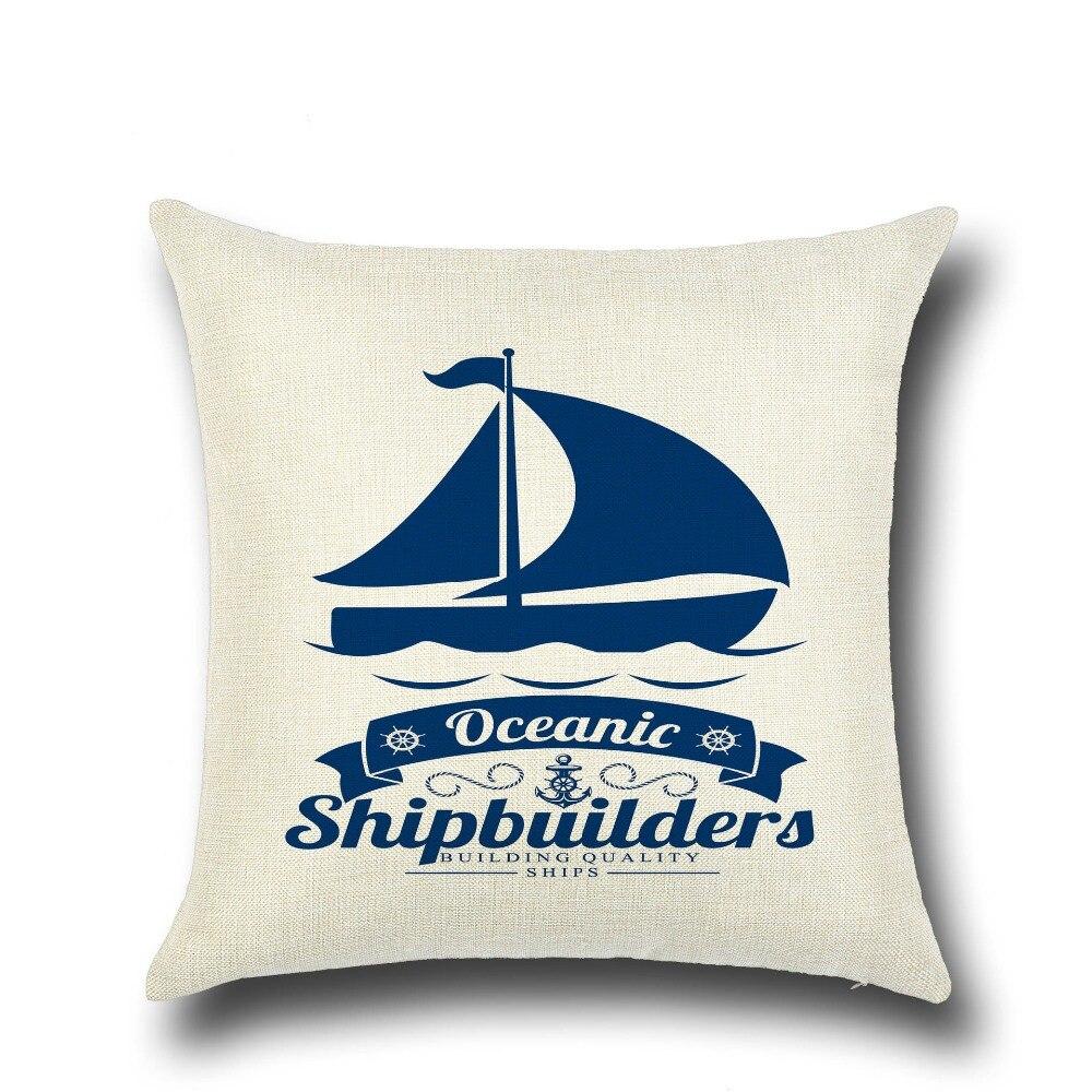 Blue Ocean Sailing Sailor Boat Ancho CompassDecorative Pillow Case Cushion Cover For Garden Sitting Cojines almofadas 45*45cm