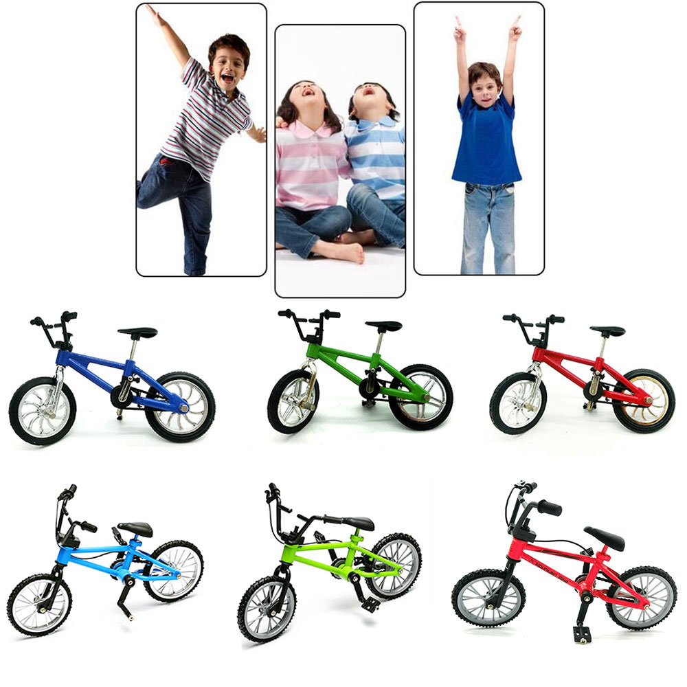 Mini Finger Bmx Toys Mini Bicycle Mountain Bike Finger Scooter Fan Interest Toys Collections Decor Without Brake Blue