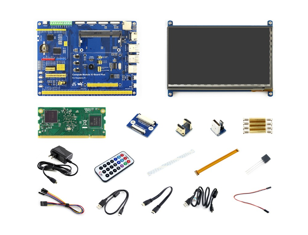 Raspberry Pi Compute Module 3 Development Kit Type B With CM3 Compute Module IO Board Plus 7inch HDMI LCD C IR Remote Controller
