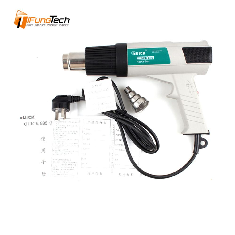 QUICK 885 Universal LCD SMD Electronic Thermostatic hot air Heat Gun intelligent welding gun soldering station for Mobile Repair