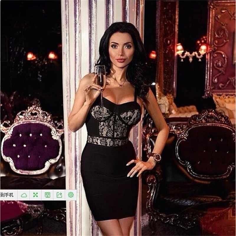 2019 Ариана Гранде черное кружевное летнее Бандажное платье женская одежда мини Вечерние платья на бретельках сексуальные короткие платья
