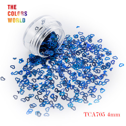 Tct-050 полые сердца Форма Лазерная красочные Глиттеры для ногтей 4 мм Размеры для ногтей Гели для ногтей украшения Макияж facepaint DIY украшения - Цвет: TCA705  50g