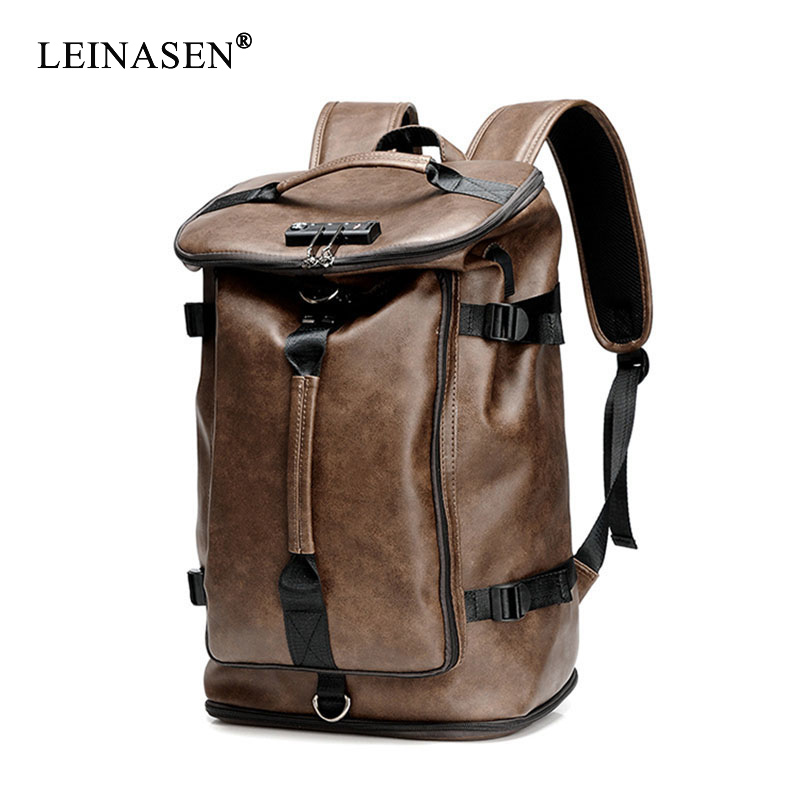 2020 New Fashion Waterproof Backpack Men Backpack Leather Bookbags Mens PU School Bags Male Functional Bags Big Capacity Men Bag
