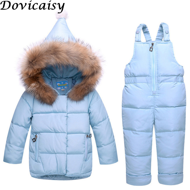 Baby Winter Set Boys Girls Cartoon Jacket+Suspenders Pant Two-piece Baby Kids 2018 New Thickening Warm Down Clothing Sets 2018 new cartoon boys clothing sets 2pcs denim jacket