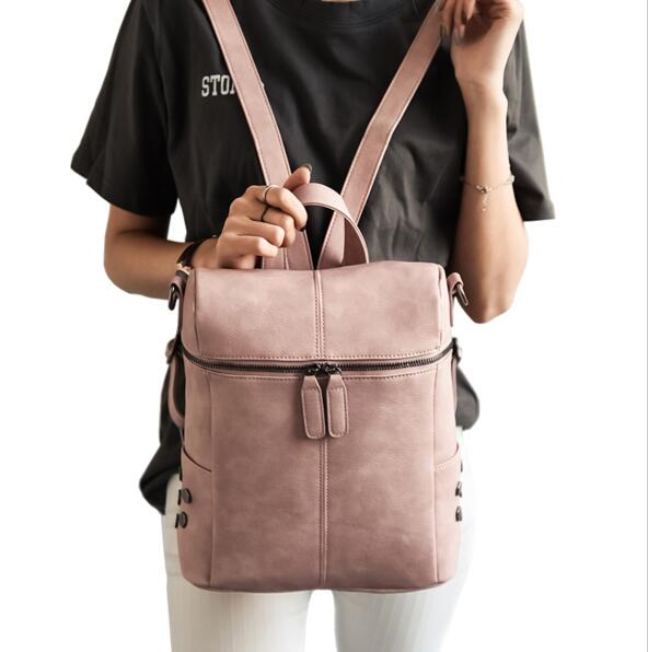 2017 new Simple style backpack women PU leather bag girl fashion retro small white backpack designer