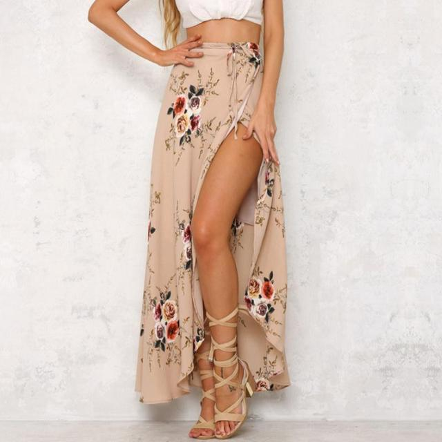 9971b605c6 2017 mujeres vintage rajó impresión floral faldas largas mujeres verano  elegante playa Maxi falda Boho alta