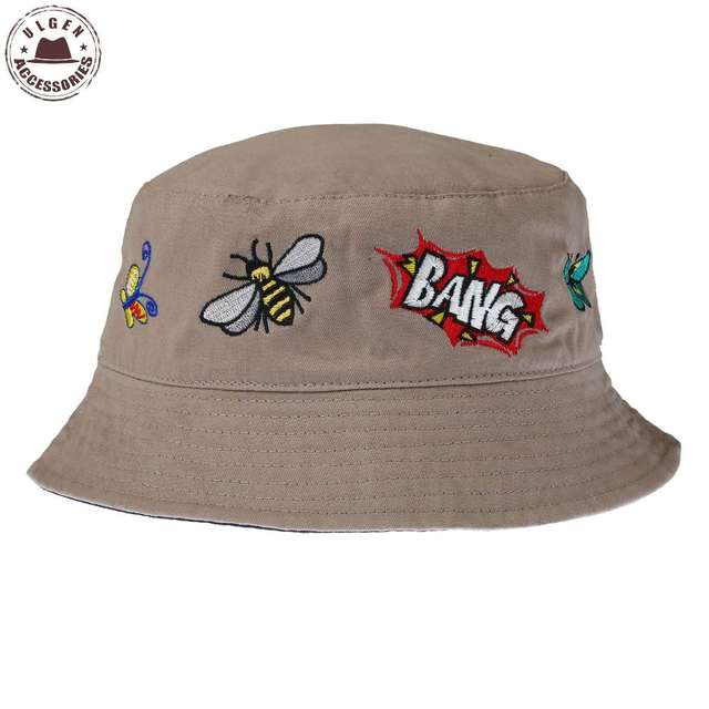 7949dcdb4 US $4.83 |Boonie Flat Fishman Hat Summer Bees Bang Embroidery Vintage  Bucket Hat Men Women Hip Hop Chapeau Panama Sunhat-in Bucket Hats from  Apparel ...