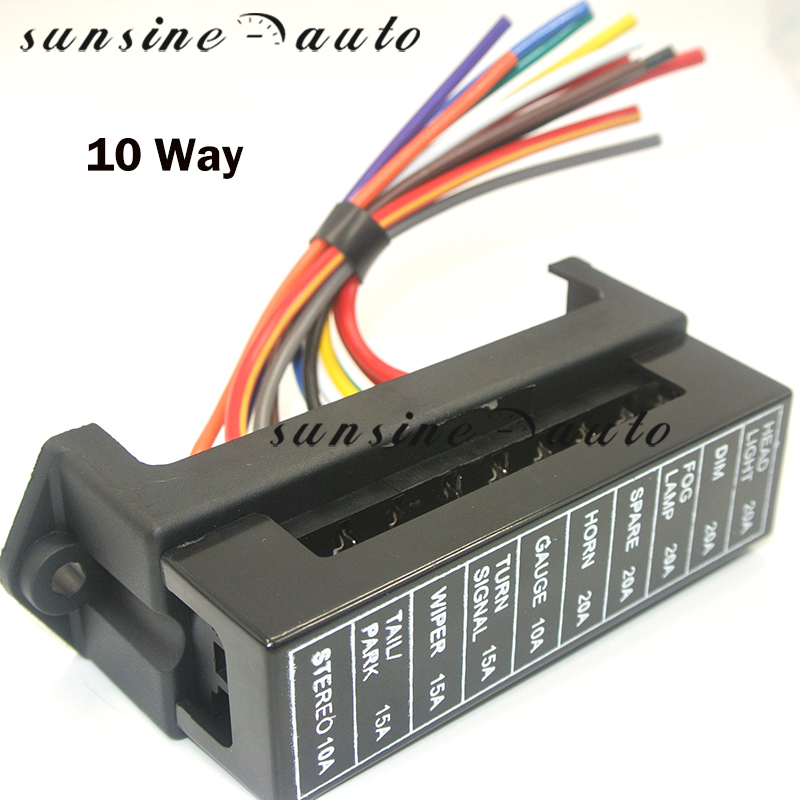 10 Way Fuse Box 12V 24V Max DC 32V Circuit Car Trailer Auto Blade Block Holder ATC ATO 2-input 10-ouput Wire Fuse Accessory image
