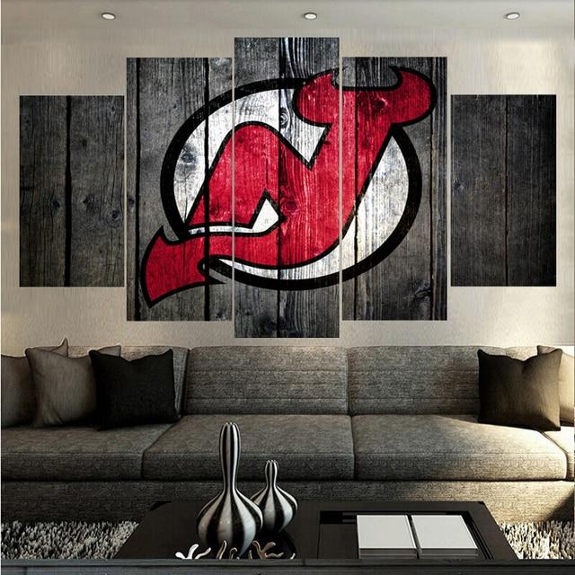 Ice Hockey Sport New Jersey Devils Logo Paintings Wall Art