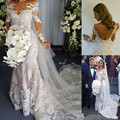 Wedding Dress 2017 New Arrival Sheer Scoop Neck Mermaid Wedding Dresses Sexy Backless Long Sleeve Vestido De Noiva