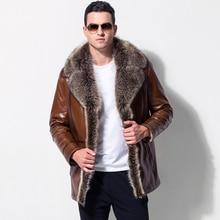 Male Leather fur outerwear  European Style Clothing sheepskin Winter Men's fur collar fleece lined Faux Leather jacket Warm Coat faux fur lined belted jacket