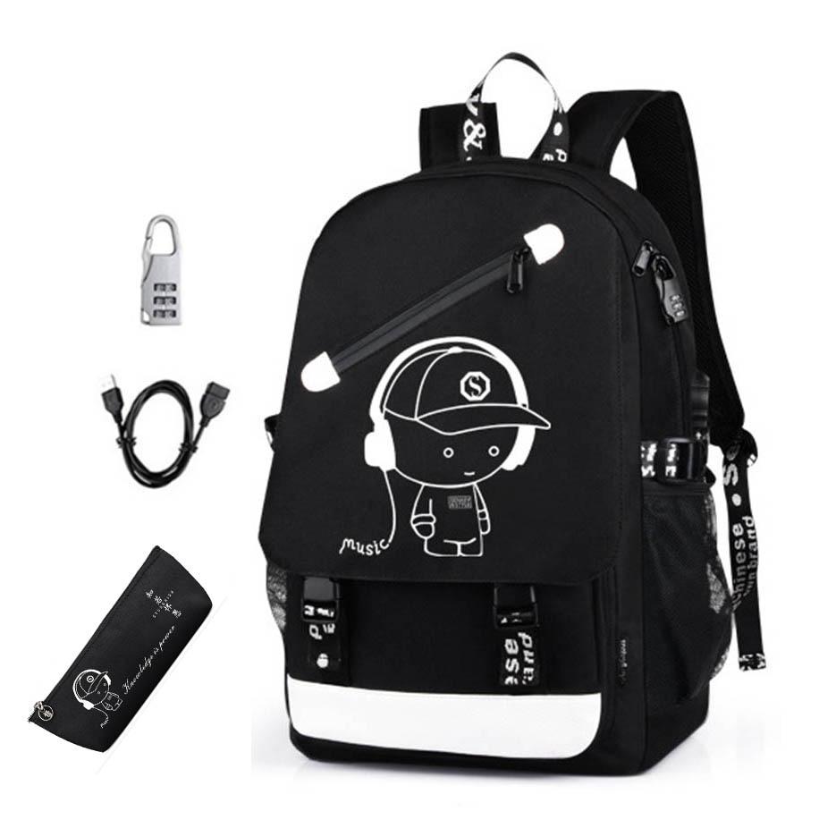 Hot Luminous Backpack Oxford Cloth Boy Printed Backpack School Student Girls Bag