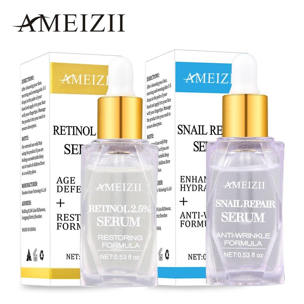 Ameizii Retinol Snail Repair Serum Anti Age Shrink Pore Hyaluronic Acid Essence Whitening Cream Moisturizier Facial Treatment in Serum from Beauty Health