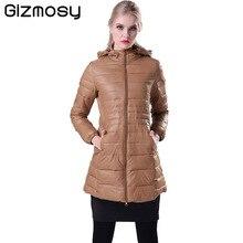 Gizmosy! Female Warm Winter Jacket Women Down Coat Thin 90% White Duck Down Parka Ultra-light Long Down Jacket Outwear BN011