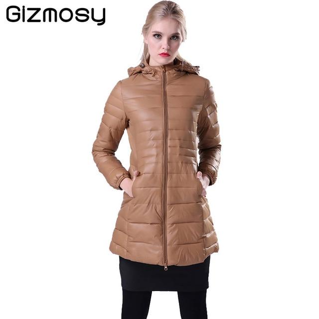Gizmosy! Mulheres Jaqueta de Inverno Quente Para Baixo Casaco feminino Fino 90% de Pato Branco Para Baixo Parka Ultra-luz Long Down Jacket Outwear BN011