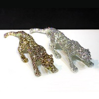 Car Interior Decorations Accessories Luxury Full Crystals Hunting Leopard Ornaments Bling Bling Decor for Home Office Great Gift