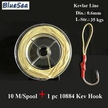 BlueSea 10M/Spool 0.6MM35Kgs Assist Fish Hooks Kevlar Fishing Line Assistant Hooks Kevlar Line Kevlar Fishing Line High Stronger