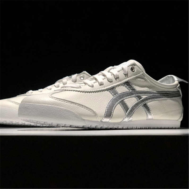 size 40 fd5c5 75649 ONITSUKA TIGER MEXICO 66 White silver Men Women Shoes Leather Rubber  Hard-Wearing Travel Street Low Sneakers Badminton Shoes