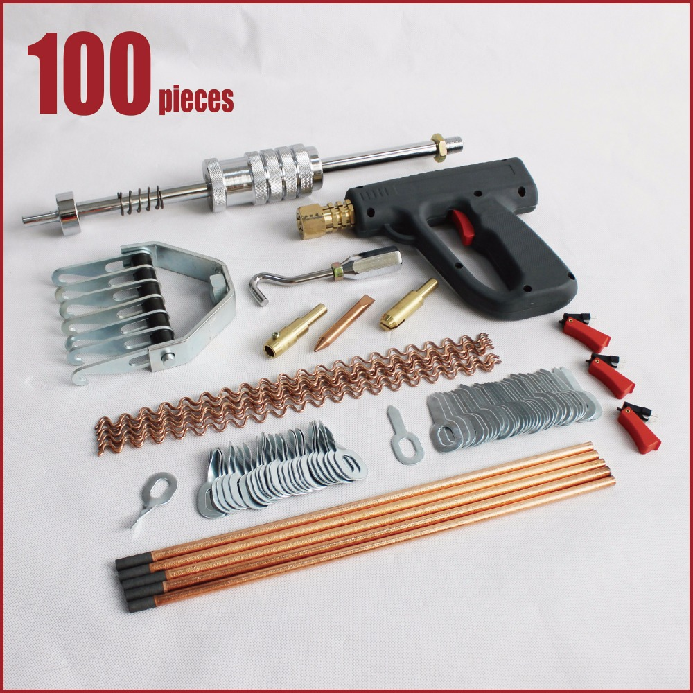auto car body works dent repair hand tools bodyworks collision damage frame straightening dent removal stud welder hunter gun