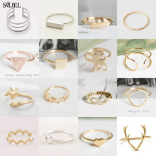 SMJEL Vintage Geometric Rings for Women bagues pour femme Square Triangle Round Bar Finger Jewelry Couple Gifts