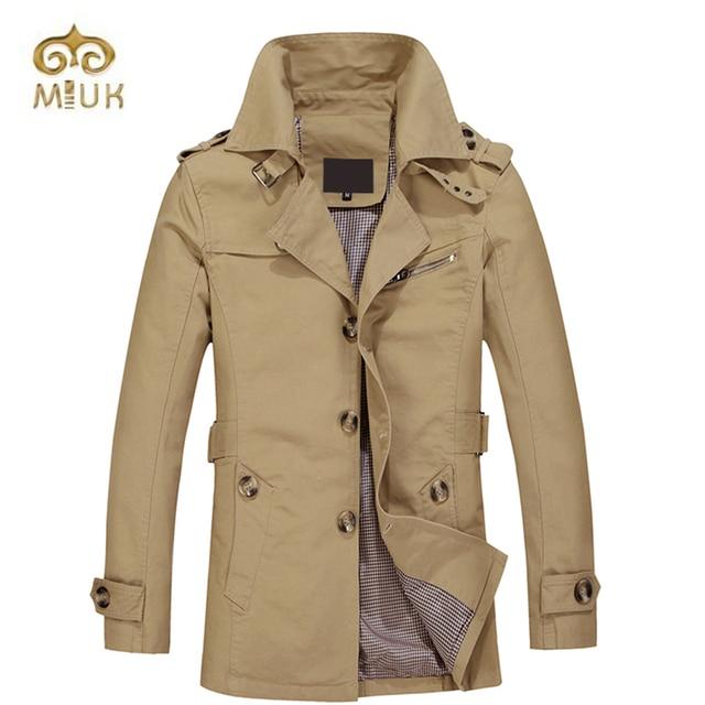 2016 Army Black Navy Khaki Fashion Single Breasted Full Sleeve Turn-down Long Trench Coat Men Manteau Homme Winter