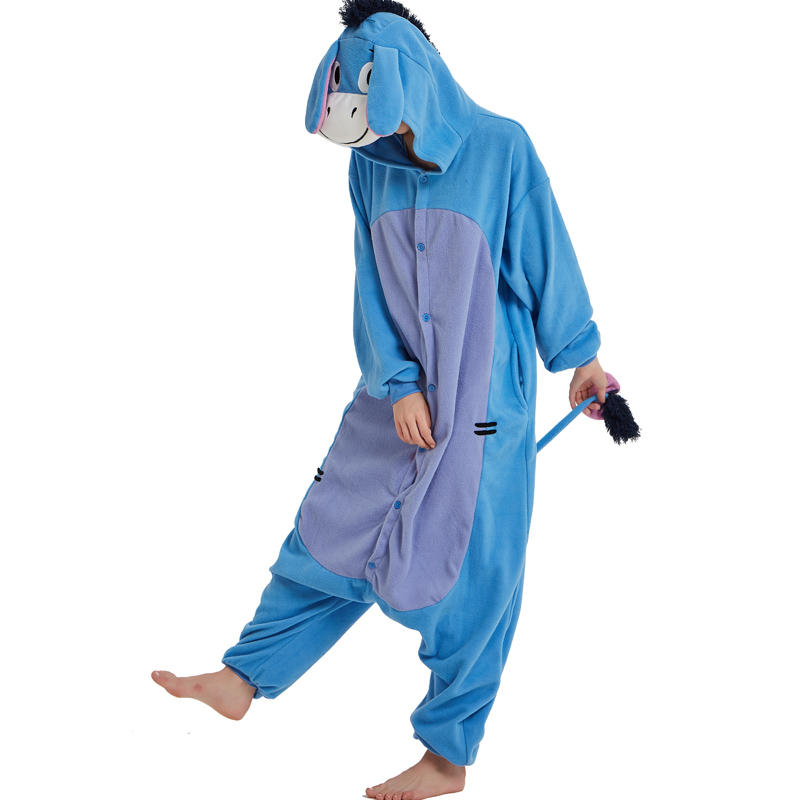 Halloween Cosplay Adult Anime Animal Eeyore Donkey Pajamas One Piece Unisex Onesie Party Costumes Sleepwear Jumpsuit (6)