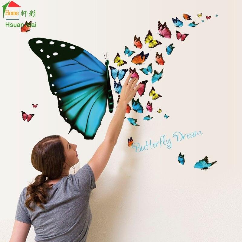 3D Sueño de La Mariposa de Pared de Vinilo Pegatinas Home Decor Art Decals Wallp
