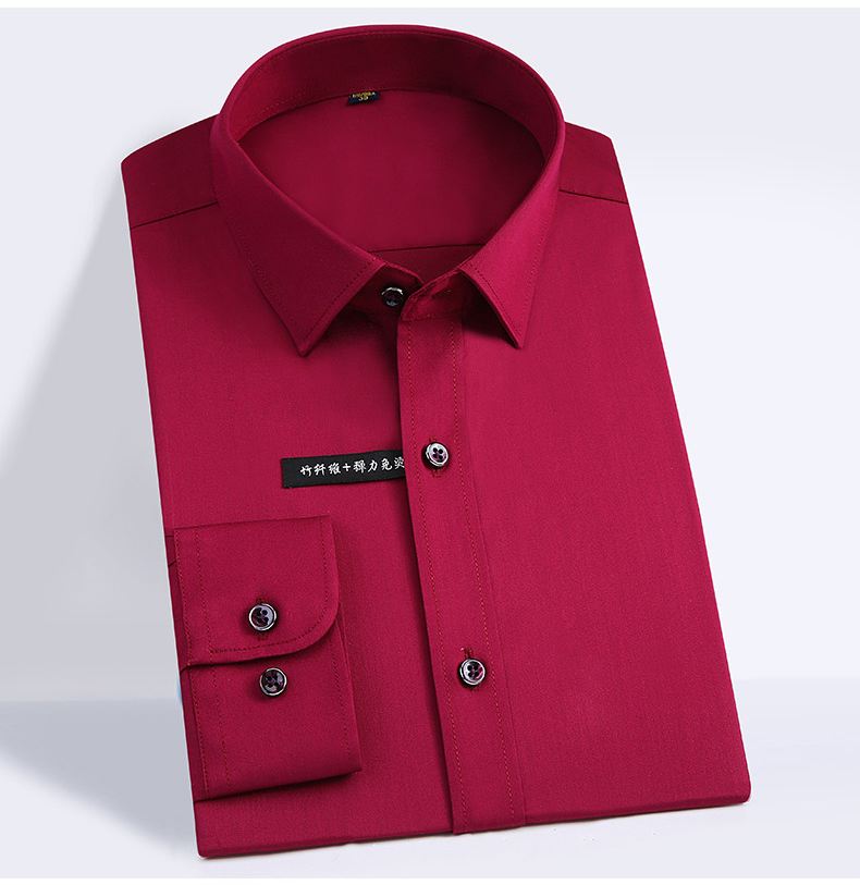 Classic Style Bamboo Fiber Men Dress Shirt Solid Color Men's Social Shirts Office Wear Easy Care(Regular Fit)