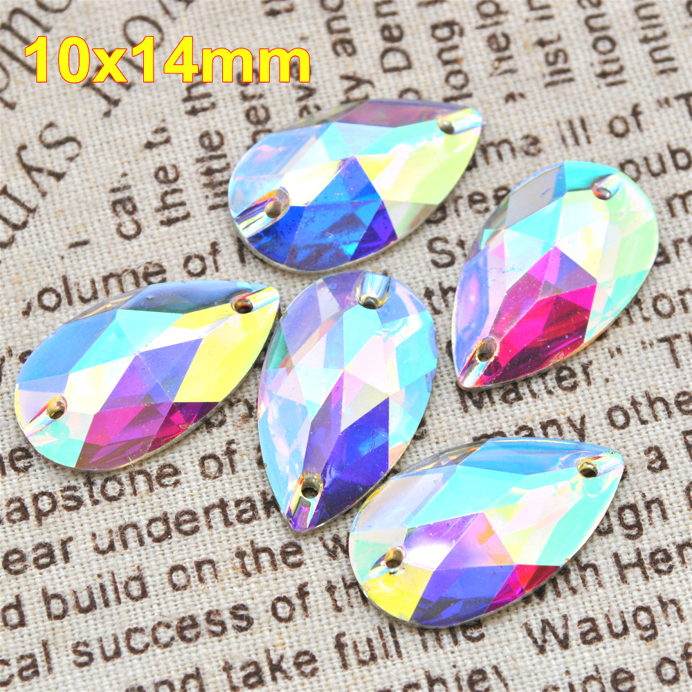 Persevering 100pcs/lot 10*14mm Crystal Ab Sew On Resin Stones Flatback Sew On Teardrop Clear Ab Bead For Garment Bag Accessory Apparel Sewing & Fabric