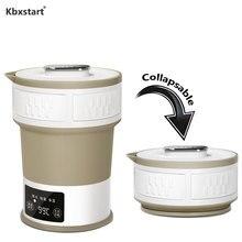 Silicone Foldable Electric Portable Travel Kettle Hidden Handle Food Grade Insulation Water Kettle 100V 220V Adjustable Voltage