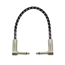 New 1 Feet Guitar Patch Cable with 1/4 inch Right Angle Plugs, Black and White Tweed Woven Jacket(China)