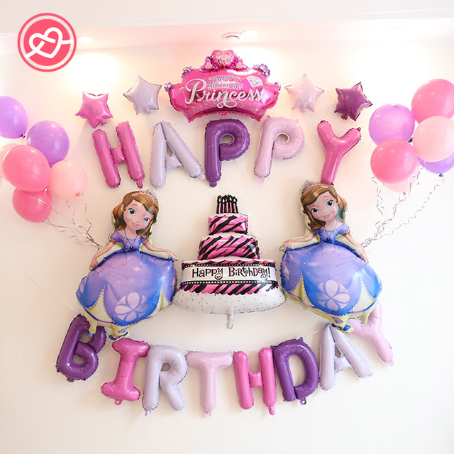 New 31Pcs Set Happy Birthday Cartoon Princess Foil Balloons Suit Diamond Crown Cake Balloon Decoration Party Supplies