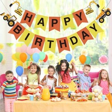 Vehicle Happy Birthday Garland Excavator Bulldozer Construction Truck Paper String Banner Flags for Kids Birthday Party Decorion