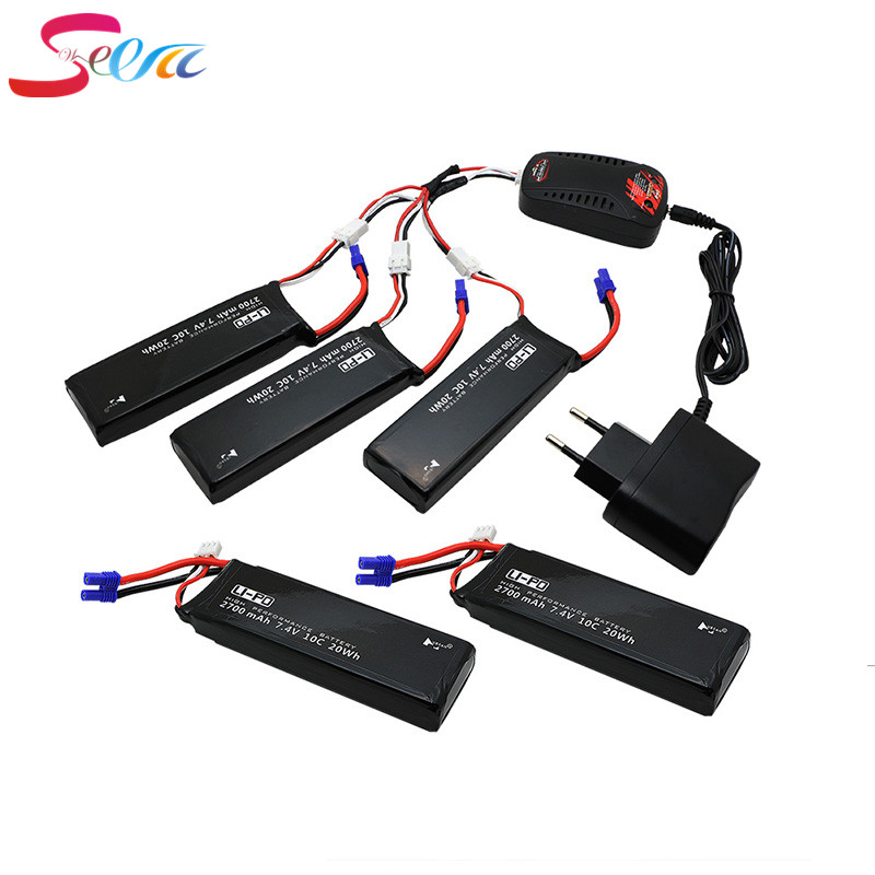 Hubsan H501S lipo battery 7.4V 2700mAh 10C 5pcs Batteies with cable for charger Hubsan H501C rc Quadcopter Airplane drone Spare 4pcs 7 4v 2700mah 10c hubsan h501s lipo battery batteies with cable for charger hubsan h501c rc quadcopter airplane drone spar