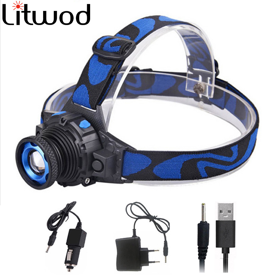 cree Q5 Led Headlamp terang Head light head Senter kepala Build-in Head lampu isi ulang Zoomable