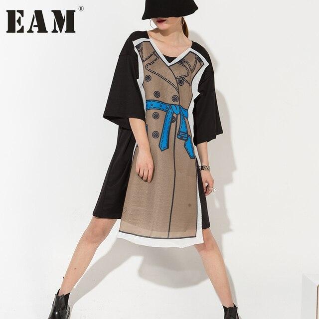 [EAM] 2017 летние женские большие размеры персонализированные коллаж печати пятый рукав газовое платье оптовая продажа нерегулярные GT11914